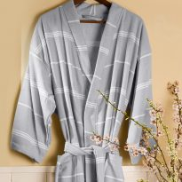 Peshterry Robe Grey Stripes