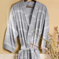 Peshterry Robe Grey Stripes