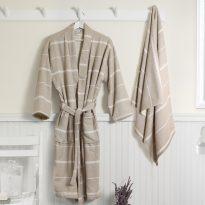 Peshterry Robe and Towel set Linen color