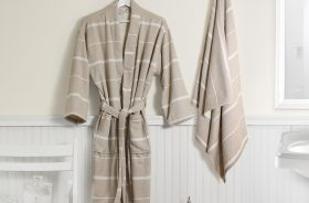 Peshterry Robe and Towel set Linen color